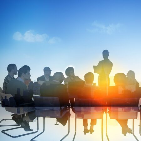 business scene: Business People Meeting Conference Speaker Presentation Concept