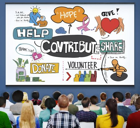 contribution: Contribute Corporate Collaboration Support Contribution Concept Stock Photo