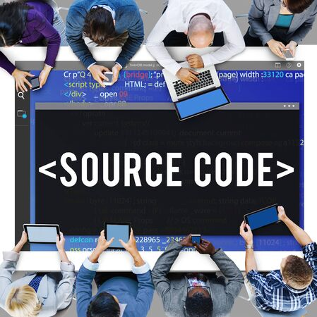 decode: Source Code Data Javascript Computer Language Concept Stock Photo