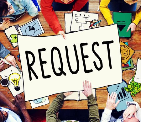 solicit: Request Require Desire Need Order Demand Concept Stock Photo