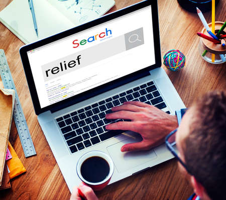 finding a cure: Relief Relax Removal Help Help Aid Assistance Pain Concept Stock Photo