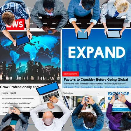 enlarge: Expand Enlarge Development Growth Progress Grow Concept