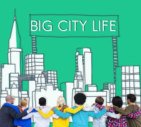 rear view: Big City Life Downtown District Metropolis Location Concept Stock Photo