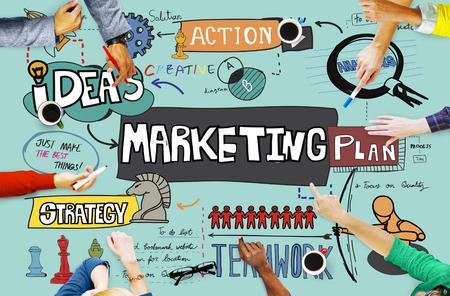 planificacion: Plan de Marketing Publicidad Concepto Comercial Foto de archivo