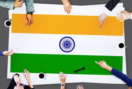 bandera de la india: Concepto Unidad orgullo de la India Bandera de la India Patriotismo Foto de archivo