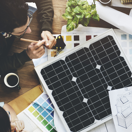 energy work: Solar Cell Energy Environmental Power Generator Concept Stock Photo