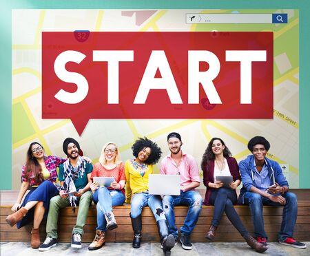 begining: Start Begining Launch Starting Ready Forward Concept Stock Photo