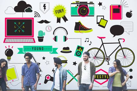 multi media: Youth Social Media Technology Lifestyle Concept