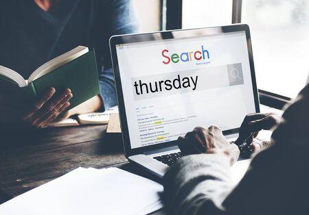 thursday: Thursday Weekday Working Calendar Date Concept