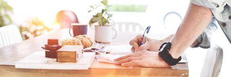 Man Signing Contract Application Form Concept Stock Photo