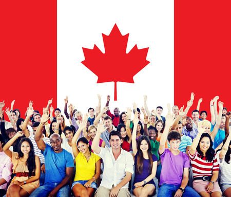 Canada China National Flag Group of People Concept