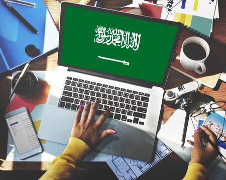 arabia: Saudi Arabia Flag Business Communication Connection Concept