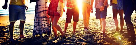 adult beach: Teenagers Friends Beach Party Happiness Concept Stock Photo
