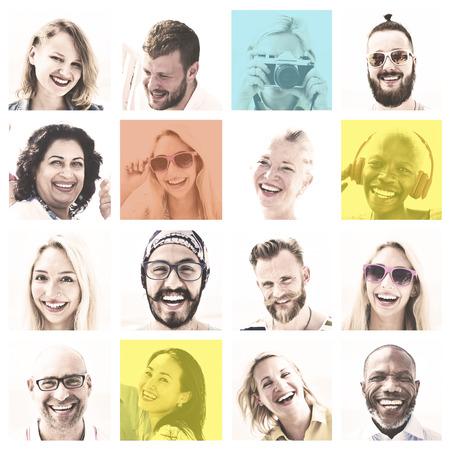 顔の多様性の人間の顔の概念の人々 セット