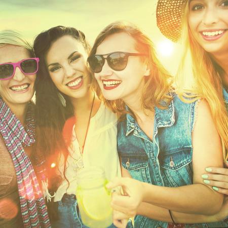 women friendship: Diverse Beach Summer Girls Friends Bonding Concept Stock Photo