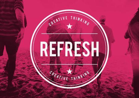 renew: Refresh Refreshment Refreshing Renew Rethink Concept Stock Photo