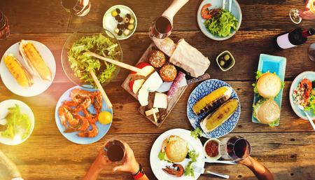 Freunde Freundschaft Outdoor Dining Menschen Konzept