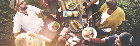 family relationships: Friends Friendship Outdoor Dining People Concept Stock Photo