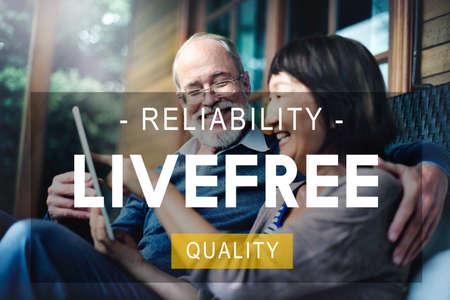 quality of life: Livefree Reliability Quality Living Life Concept Stock Photo