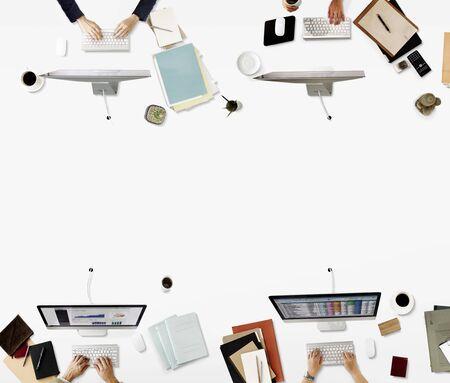 Oficina Oficio con título de negocios concepto corporativo