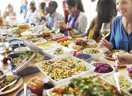 Concepto del partido del buffet Cena Comedor Comida Celebración