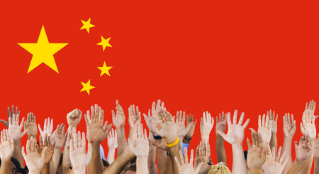 raise the white flag: China National Flag Group of People Concept