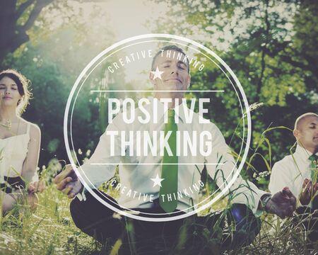 optimism: Positive Thinking Optimism Attitude Choice Inspire Concept