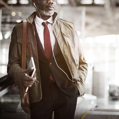 businessman suit: Journalist Businessman Travel Commuter Concept