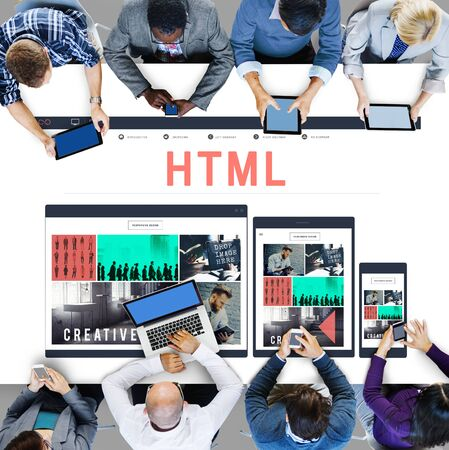 html: HTML Network Coding Website Internet Concept Stock Photo