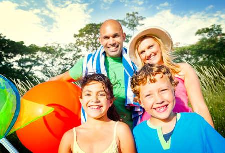 playful: Family Kids Parents Playful Park Summer Concept