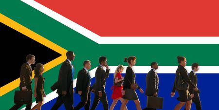 people work: South Africa Flag Patriotism South African Pride Unity Concept Stock Photo