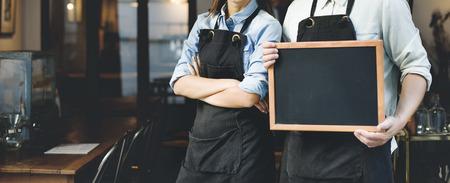 mandil: Barista trabajo de los servicios Cafetería Concept