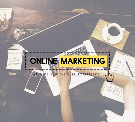 marketing online: Online Marketing Advertisement Strategy Target Promotion Concept