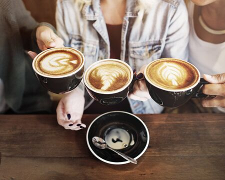 enjoyment: Women Friends Enjoyment Coffee Times Concept