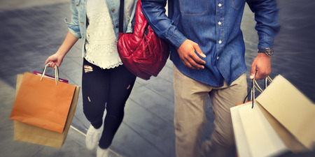 Shopping Couple Capitalism Enjoying Romance Spending Concept Stockfoto
