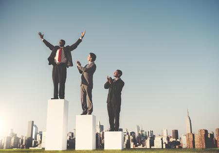 úspěšný: Business Team Leader úspěch soutěž Corporate Concept Reklamní fotografie