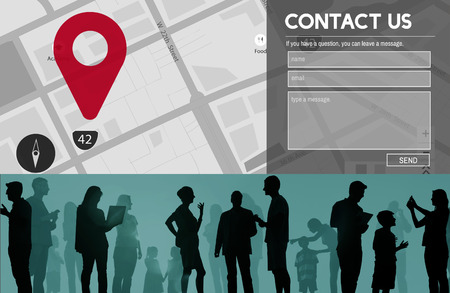 Contact us concept with silhouette of people and map