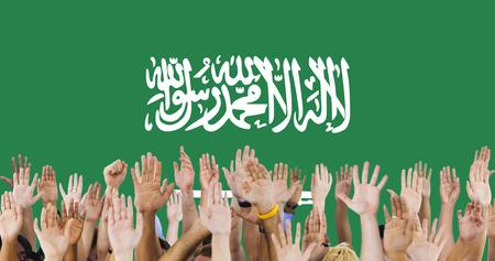raise the white flag: Saudi Arabia National Flag Group of People Concept Stock Photo