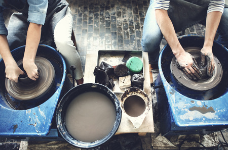 pottery: Pottery Jar Jug Mud Workshop Molding Ceramic Concept Stock Photo