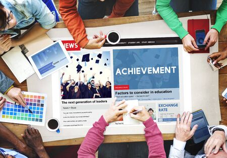 fulfilment: Achievement Attainment Success Victory Concept Stock Photo