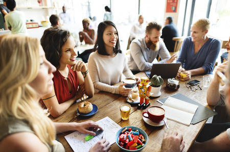 friend: Diversity Friends Meeting Coffee Shop Brainstorming Concept