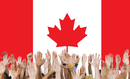 raise the white flag: Canada National Flag Group of People Concept
