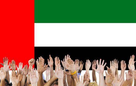 raise the white flag: UAE National Flag People Hand Raised Concept