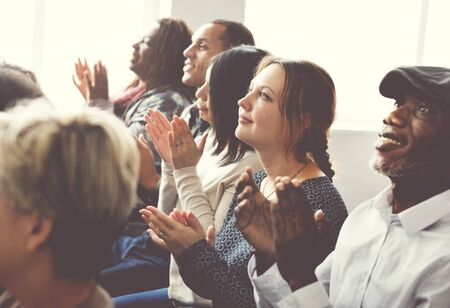 applaud: Audience Applaud Clapping Happiness Appreciation Seminar Concept Stock Photo