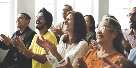 people clapping: Audience Applaud Clapping Happines Appreciation Training Concept Stock Photo