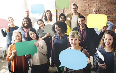 group discussions: Diverse People Communication Speech Bubble Concept Stock Photo