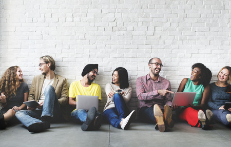 사람들: 디지털 연결 기술 네트워킹 팀 개념 스톡 콘텐츠