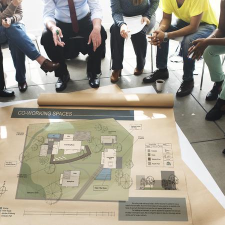 co: Co Working Space Architecture Plan Map Blueprint Design Concept