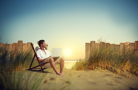 Businessman Working Beach Summer Vacation Travel Concept Stock Photo