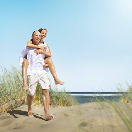 piggyback: Couple Romance Beach Love Island Concept
